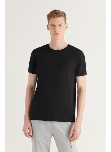 Avva Erkek Bisiklet Yaka Düz Sırt Biye Detaylı T-Shirt A11Y1172 Siyah